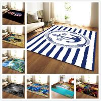 Soft Flannel Parlor Area Rugs Child Room Play Mats 3D ship's anchor Printed Carpets for Living Room Home Decorate Rug and Carpet