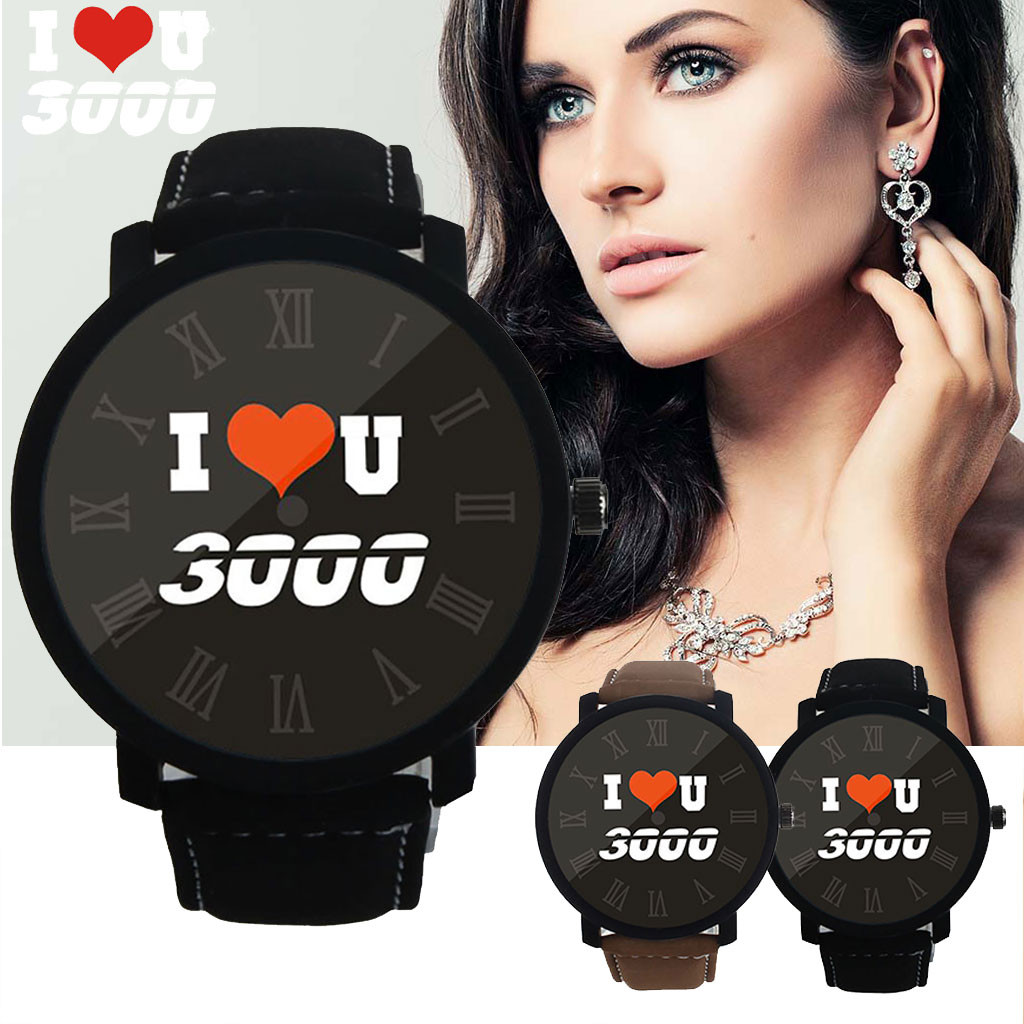 OTOKY Womens Watches I LOVE YOU Three Thousand Fashion Quartz Watch Simple Leather Belt Men And Women Watch Wrist Watch 19May08