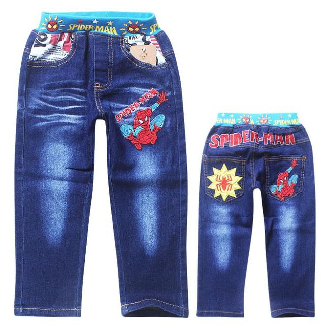 spiderman boys jeans spring 2015 new denim pants for children elastic waist toddler baby kids long tourser