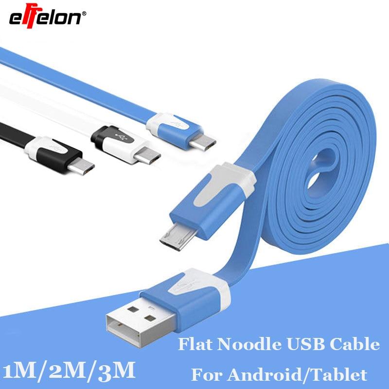 1M 2M 3M Flat Noodle Micro USB De Datos Y Cable Cargador Para Samsung Nokia HTC