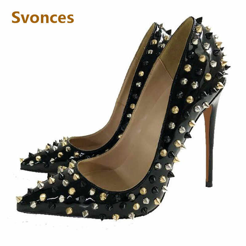 Zapatos Mujer 12cm High Heels Woman Pumps Gold Silver Rivets Pointed Toe  Designer Woman Sandals Sexy 855d751f0f48