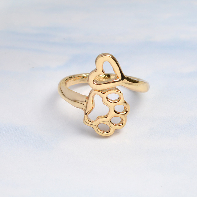 Cute Cat Paw Ring For Women Silver Gold Heart Anime Paw Finger