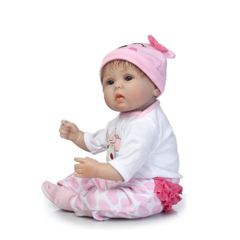 Nicery 16 18 дюймов 40 45 см Bebe Кукла Reborn Мягкая силиконовая игрушка для мальчиков и девочек Reborn Baby Doll подарок для детей розовый медведь прекрасный - 6
