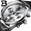 Binger Luxury Men Business Top Brand Silver Steel Quartz-Watch Chronograph Luminous Date Clock Men's Fashion Casual Wristwatch