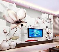 3d tapety ścienne na zamówienie naklejki ścienne włókniny Lily przezroczyste 3 d TV ustawienie kwiat malowidła ścienne tapety na ścianach 3 d