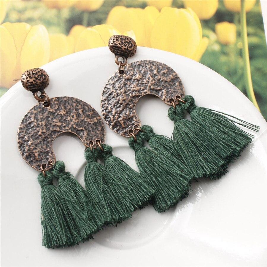 2019 New Retro Big Bohemian Tassel Earrings For Women Vintage Drop Earrings Long Boho Fringes Dangle Earrings Fashion Jewelry in Drop Earrings from Jewelry Accessories