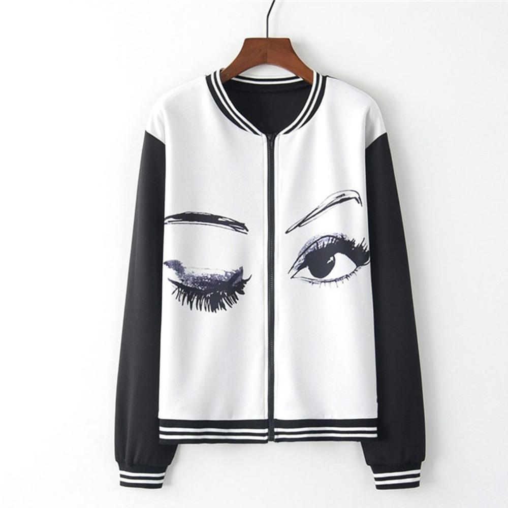 jacket Women Long Sleeve O Neck Eye Print Zipper Pockets Casual Sport Coat Casual jaqueta feminina chaqueta mujer Q60