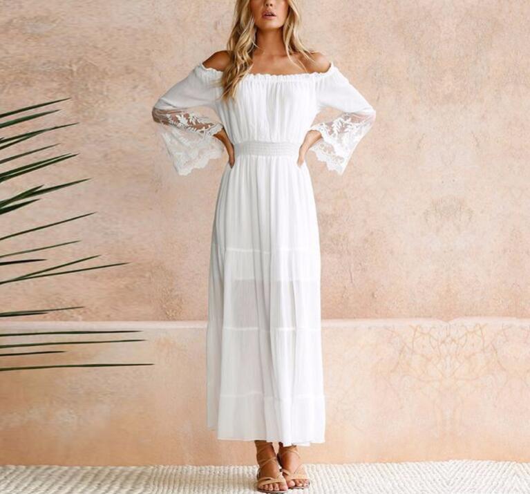 Летний Сарафан длинный белый пляжное платье без бретелек с длинными рукавами свободные сексуальные с открытыми плечами кружева Boho хлопчат...