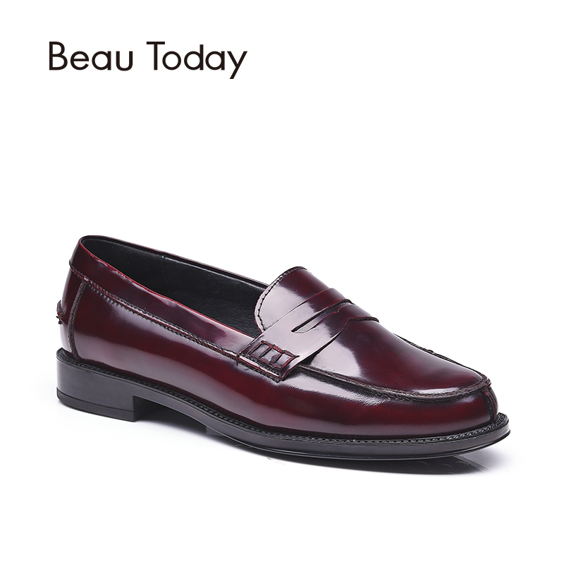 BeauToday Penny Loafers Women Spring Autumn Moccasin Flats Round Toe Slip-on Genuine Patent Cow Leather Shoes 27002 beautoday genuine leather crystal loafer shoes women round toe slip on casual shoes sheepskin leather flats 27038