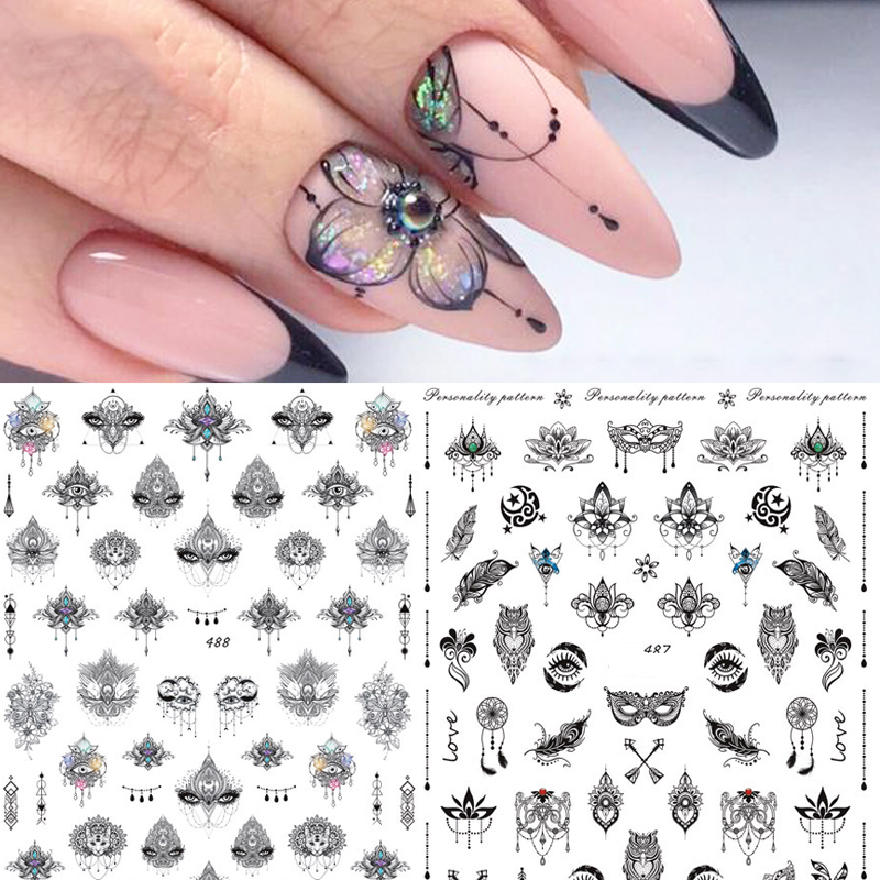 New arrived 1 sheet Nail Water Decals black Linear Nail Stickers Butterfly Flowers Nail Art Transfer Sticker Decals Slider Z0144 in Stickers Decals from Beauty Health