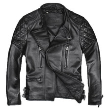 2017 Men Black Stand Collar Diagonal Zipper Leather Motorcycle Jacket Genuine Thick Cowskin Slim Fit Biker Coat FREE SHIPPING