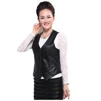 Lady Genuine Leather Vest Womens Winter Sleeveless Jackets Warm Waistcoat Sheepskin Black Cotton Padded Suede Vest