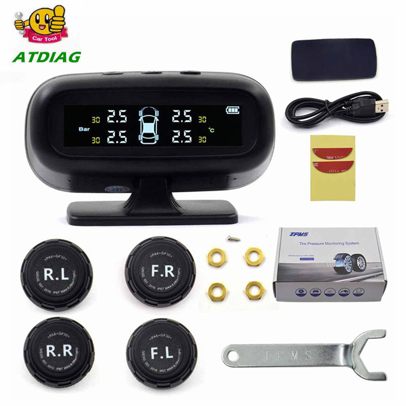 Professional Solar TPMS Car Tire Pressure Alarm Monitor System Display 4 External Sensors Temperature Warning Fuel Save(China)