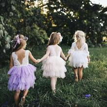 цены на baby dresses girl Wedding Party Kids Flower baby girl dress Layered Tulle Open Back Sleeveless Ball gown dresses clothes summer