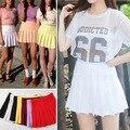 2017 Estilo de Rua Moda Mulher Lady Cintura Alta Bola Saia Plissada Saias Femininas XS-L Preto Branco Vermelho Rosa Amarelo