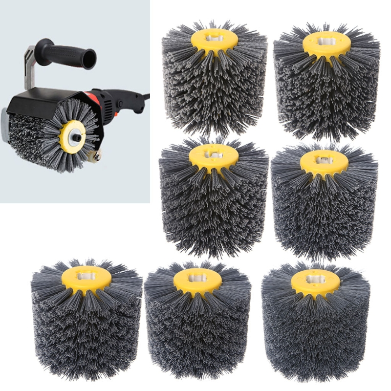 Deburring Abrasive Wire Drawing Round Brush Head Polishing Grinding Tool Buffer Wheel For Furniture Wood Sculpture Rotary Drill