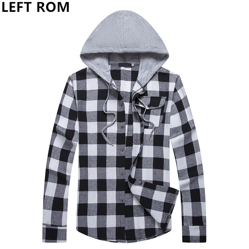 LEFT ROM Man long sleeve lattice 2018 New pattern Hit color Pure cotton high quality fashion Leisure Slim Hooded Mens shirts