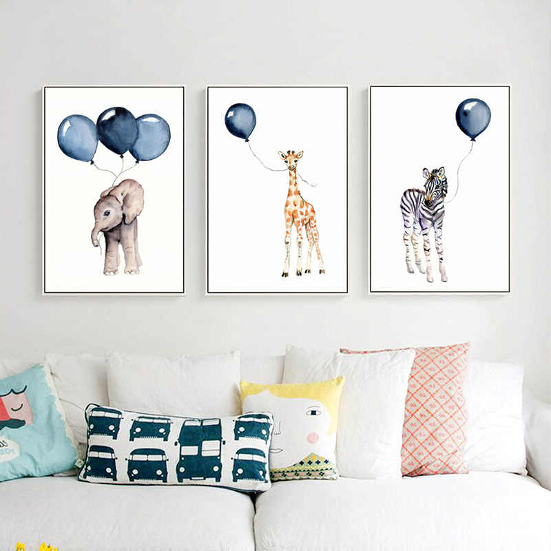 Nordic Creative Children's Room Decorative Painting Animal on Balloon Wall Art Canvas Garden Decoration Back To The Future Kids