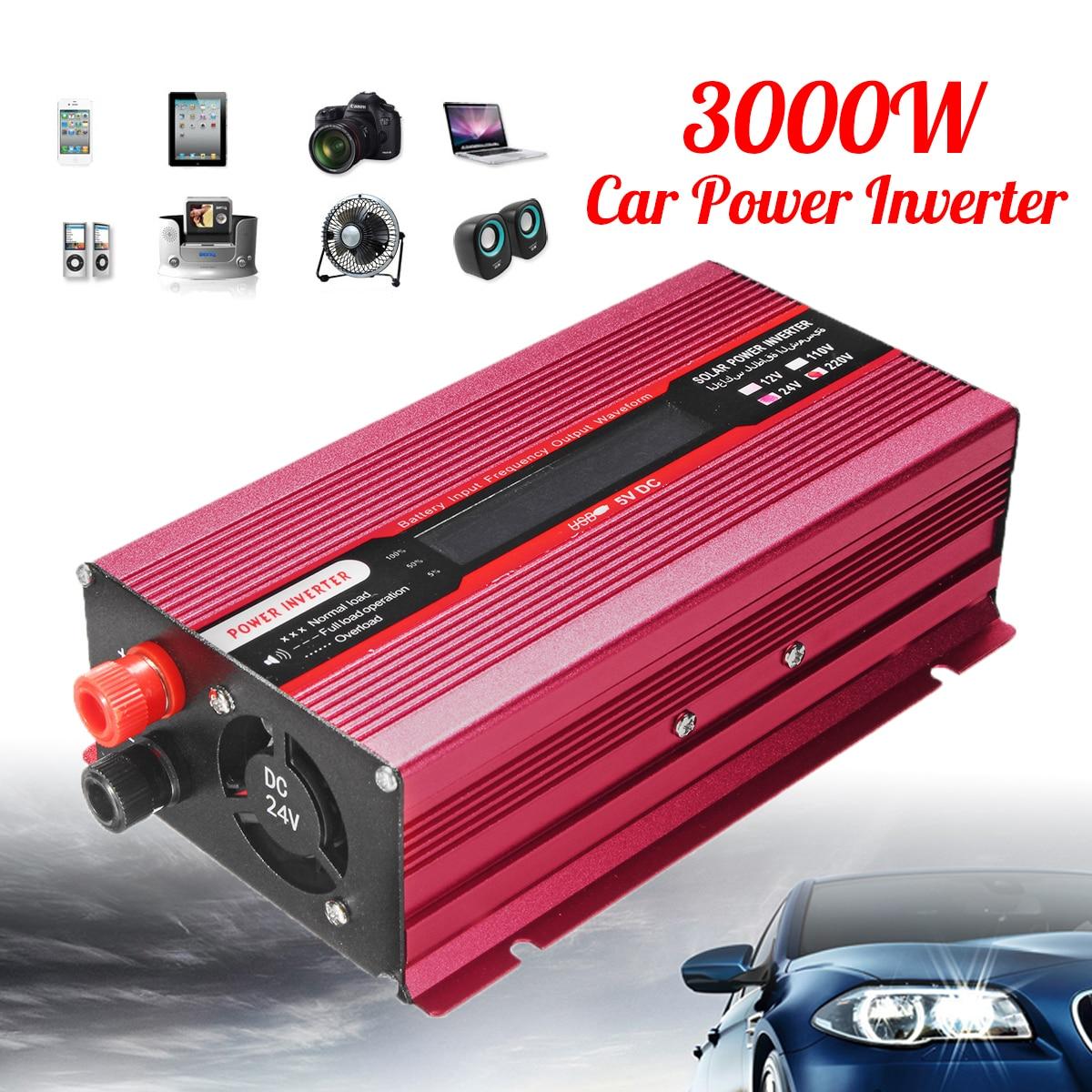 Voltage Transformer PEAK 3000W 12/24V To AC 220/110V Aluminum Red Sine Wave Converter Car Power Inverter USB Modified
