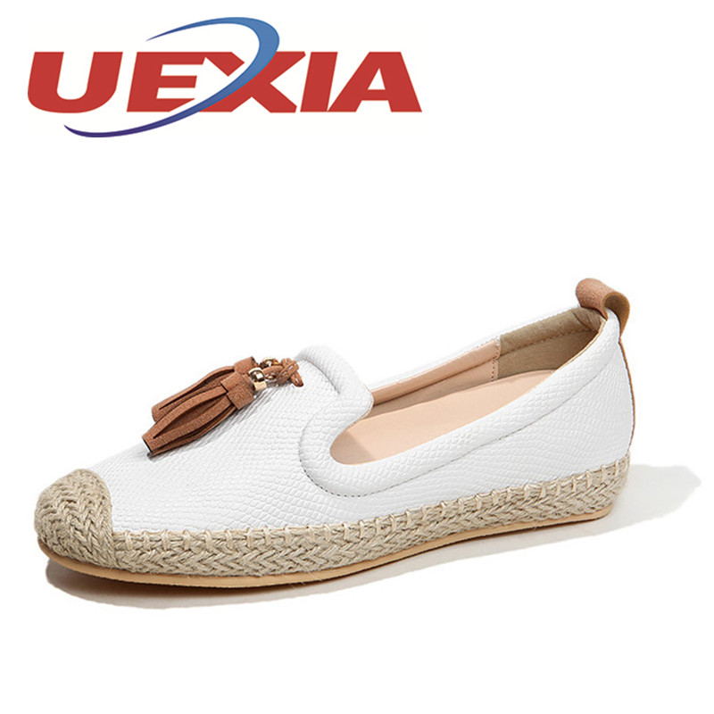 Spring Women Casual Shoes Female Genuine Leather Loafers Shoes Woman Fashion Slip On Breathable Flats Shoes For Girls Size 35-40 hee grand breathable casual woman shoes air mesh candy color woman flats loafers comfortable slip on shoes size 35 40 xwc1181