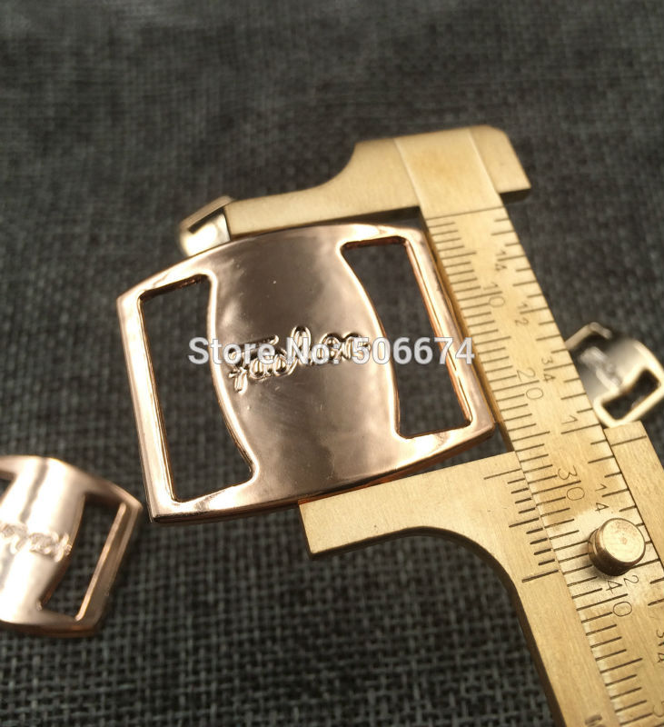 26/21mm,35pcs uv plated rose gold no fade ribbon buckles bow acessories Invitation Ribbon Slider Headband Hair Clip DIY