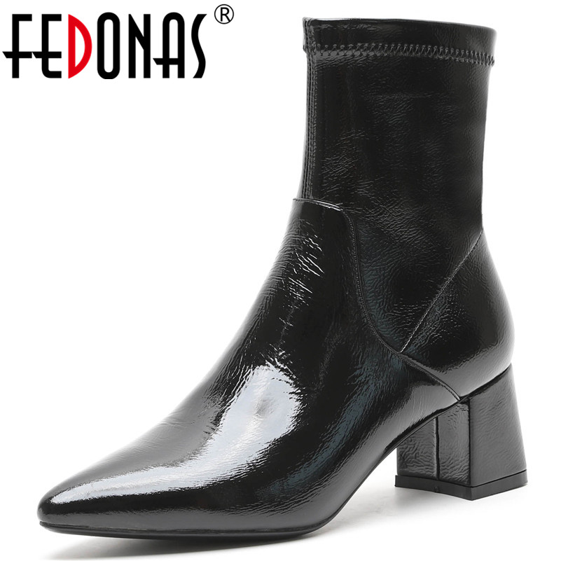 FEDONAS Sexy Punk Black Women Ankle Boots High Heels Pointed Toe Autumn Winter Martin Shoes Woman Zipper Night Club Party Pumps сумка nano de la rosa nano de la rosa na003bwzre50