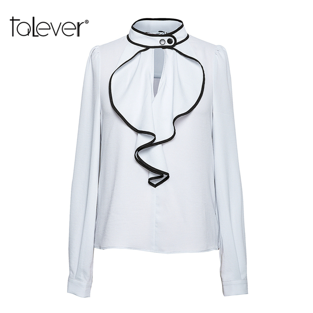aebd7c14ea4 2018 Elegant Women Office Blouse Shirts Ladies Ruffle Long-Sleeve Wave  Collar Spring Autumn Casual Female Shirt Tops 5XL Talever