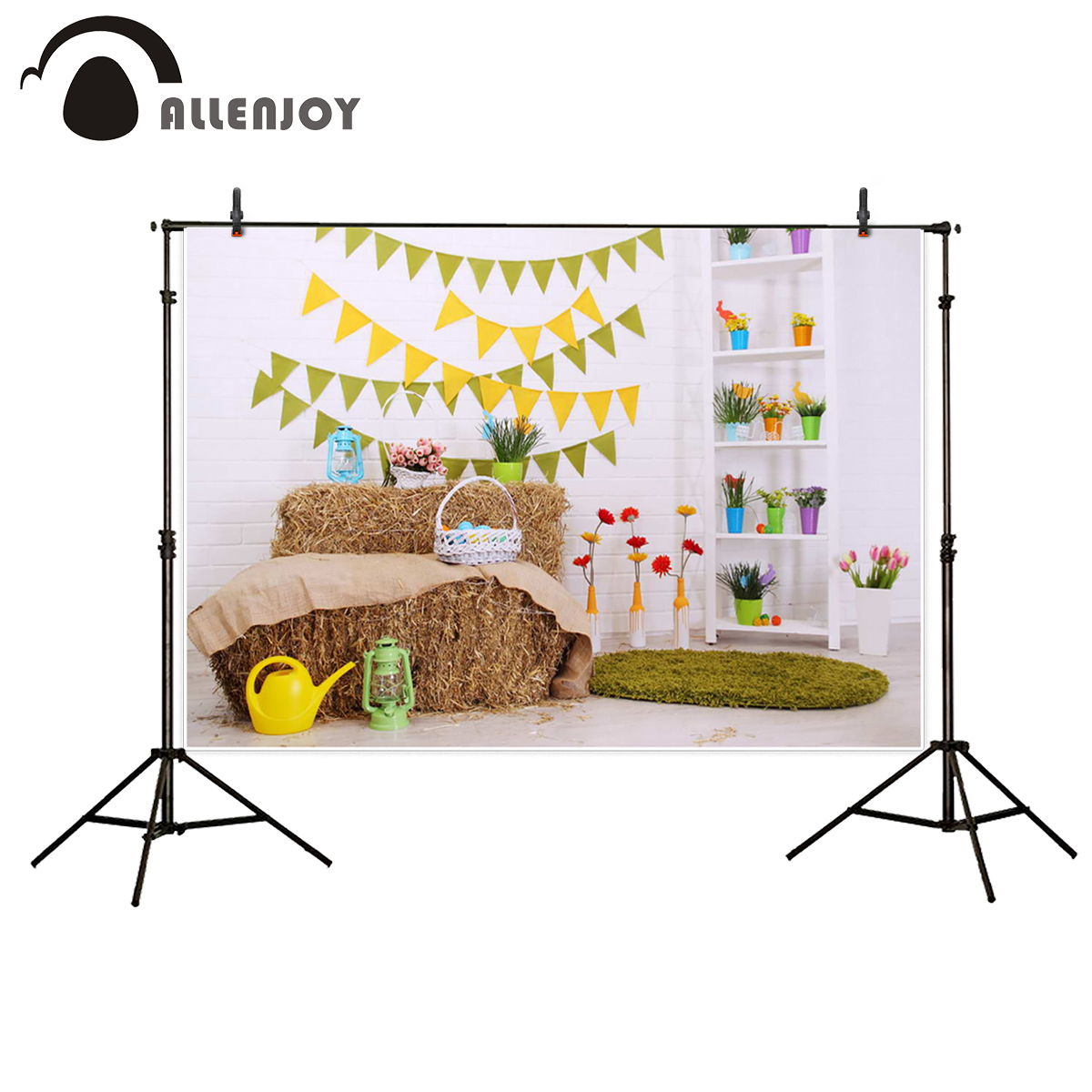 Allenjoy background for photo studio Easter basket lamp flower cute backdrop photography background fantasy backdrops  недорого