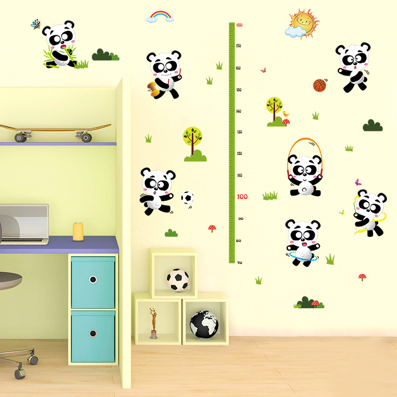 Removable Cartoon Panda Growth Chart Kid Height Chart Bamboo Wall Hanging Kids Room Wall Decorative Measure Height Sticker