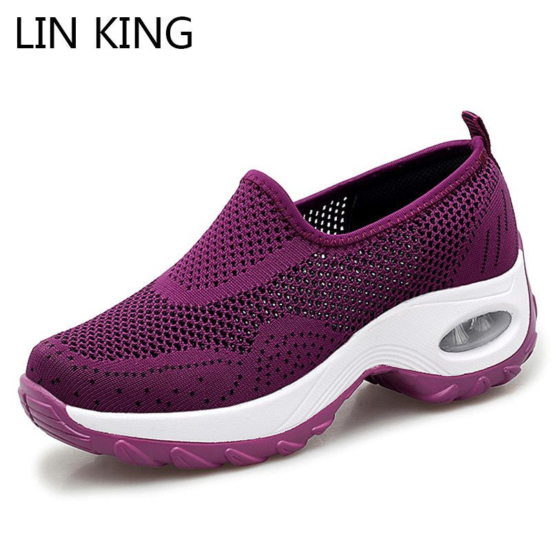 LIN KING Summer Hollow Out Women Casual Shoes Plus Size Height Increase Lazy Shoes Breathable Slip On Outdoor Sports Sneakers