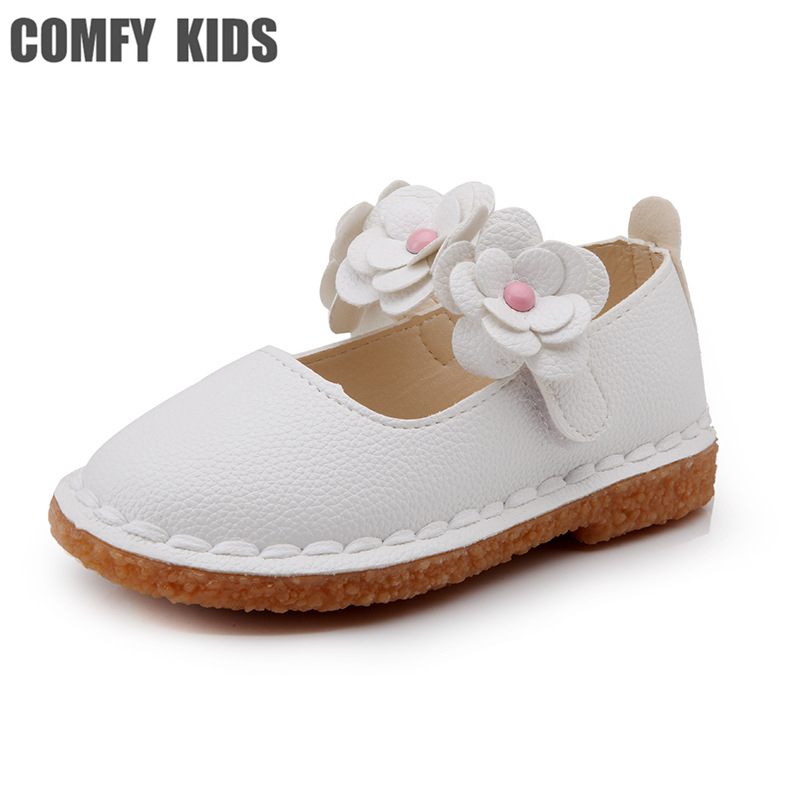 Comfy kids Artificial PU Leather child girls flat with shoes flower fashion size 21-30 girls leather shoes for baby toddler shoe