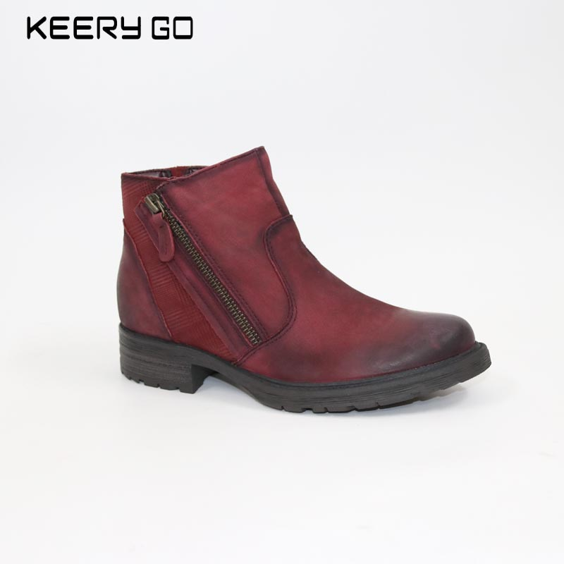 Autumn and winter 17 years, the new high-end leather comfortable, zipper handsome, women's Boots