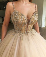 Romantic 2019 Ball Gown Sweetheart Sweet 16 Sixteen Puffy Beaded Champagne Quinceanera Dresses