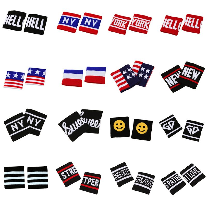 2Pcs/Pair Adult Kids Running Sports Wristband Sweatband Hip-Hop Letters Colored Striped Dancing Wrist Support Brace Wraps Guards