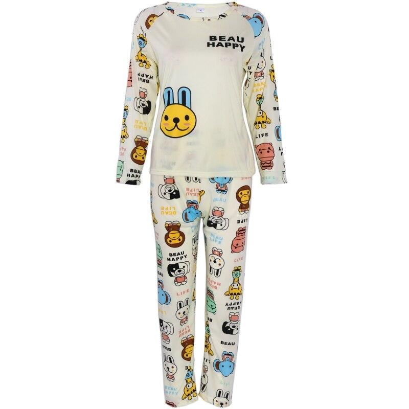 THINKTHENDO Women Long Sleeve Cartoon Rabbit Print Tops   Pajamas     Set   Sleepwear