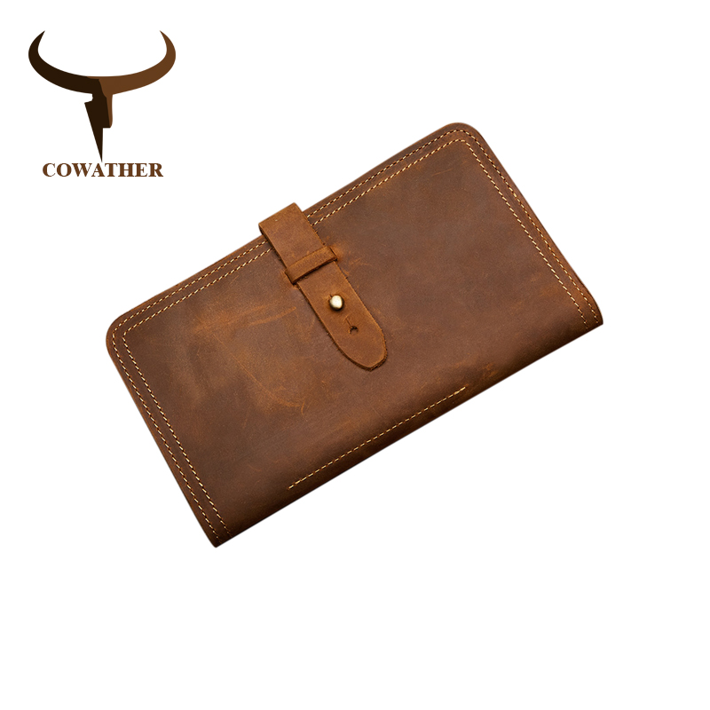 COWATHER Big Capacity Long Wallet Top Cow Genuine Leather Men Wallets New Arrival Crazy Horse Leather Male Purse Cowhide Purse 2018 top quality new men wallets vintage cow crazy horse luxury leather men manual male purse carteira masculina