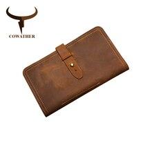 COWATHER Big Capacity Long Wallet Top Cow Genuine Leather Men