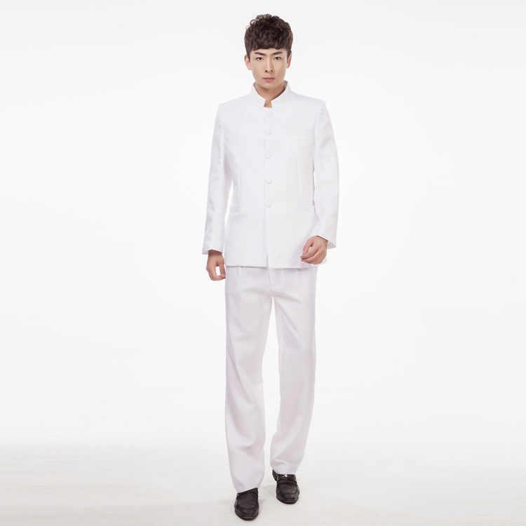 Jacke + Pants Chinesischen Tunika Anzüge Männer Stehen Kragen Schwarzer Anzug Männlich Schlank Schule Tragen Männer Blazer Fress Verschiffen