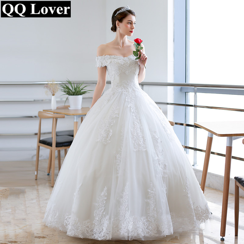 QQ Lover 2019 Nice Lace Flowers Ball Gown Wedding Dress Off Shoulder Plus Size Wedding Gown