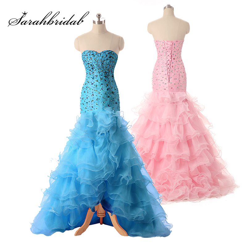 Heavy Ruffles Organza High Low   Prom     Dresses   Sweetheart Beaded Sequins Cheap Sleeveless Homecoming Cocktail Party Gowns SD079