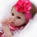 55cm  Lovely Silicone Reborn Baby Dolls  newborn babies with pink dress bonecas  children bebe gift girls toys