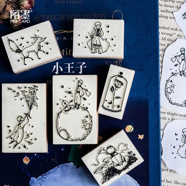1 pieza Vintage lindo Pequeño Príncipe sello de madera DIY artesanía sellos de goma de madera para Scrapbooking diario Scrapbooking sello estándar