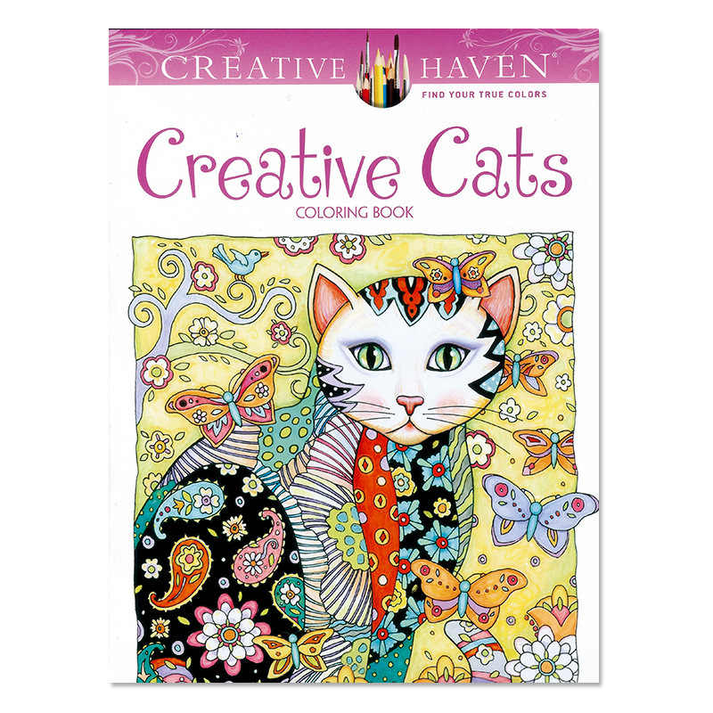 1 PCS 24 Pages Creative Cats Coloring Book For Children Adult Relieve Stress Kill Time Graffiti Painting Drawing Art Book