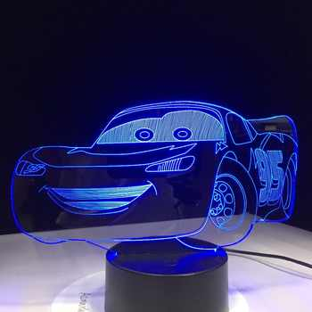 Super Car 3D Night Light Racing Car USB LED Table Lamp 3D Illusion Lamp Children Kids Bedroom Decor sitting room lights dropship