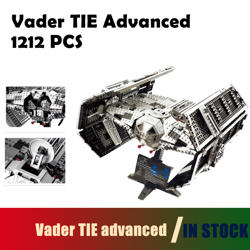 Compatible with lego city Model Building Kit 05055 1212Pcs Vader TIE advanced fighter aircraft Blocks Bricks 10175 Children lepin 02012 city deepwater exploration vessel 60095 building blocks policeman toys children compatible with lego gift kid sets