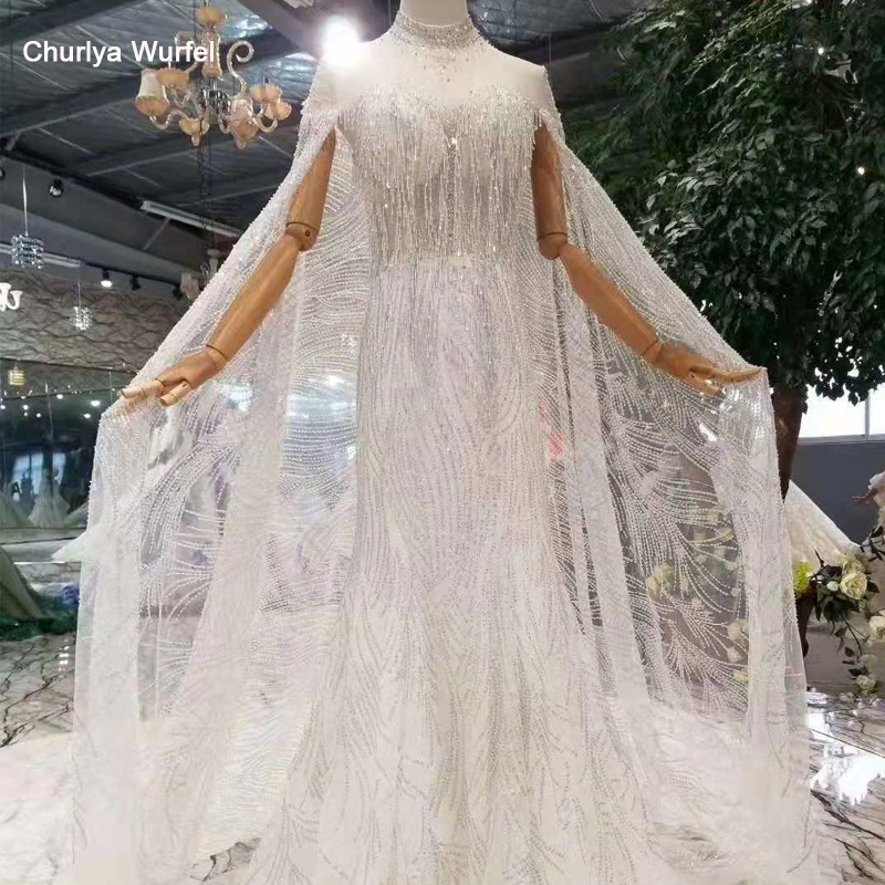 LS11243 mermaid wedding dresses with sleeve shawl high neck see through lace trumpet wedding gowns tassel