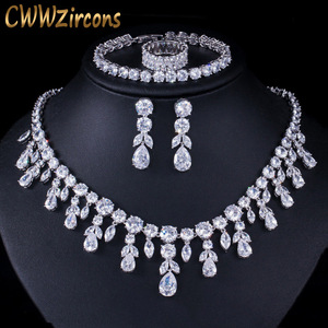 Image 1 - CWWZircons Dangle Drop Dubai Zircon Necklace Earrings Bracelet and Rings Bridal Jewelry Set Women Wedding Dress Accessories T342