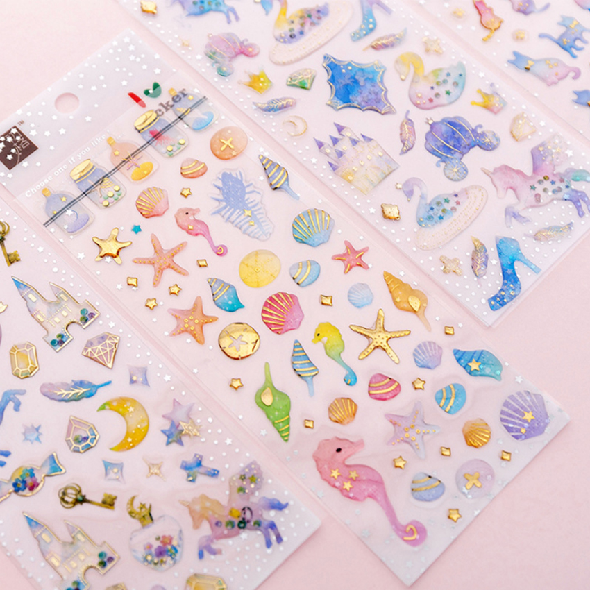 1pack/lot Cartoon Kawaii Sticker 3D Beautiful Girl Dream Castle Unicorn Crystal Glue DIY Diary Phone Album Decorative Stickers