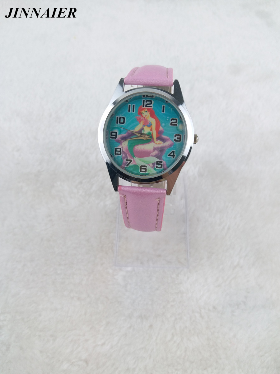 Free Drop Shipping 1pcs/lot Cartoon Popular Pink Lovely Princess Ariel Little Mermaid Girls Child Fashion Quartz Wrist Watch the little mermaid ariel princess dress cosplay adult ariel mermaid costume women mermaid princess ariel green dress cosplay