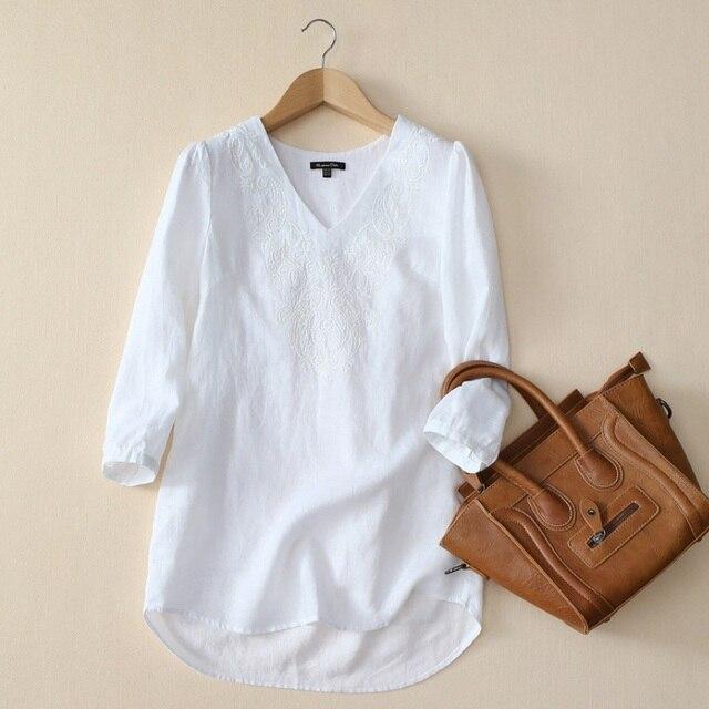 witte linnen blouse